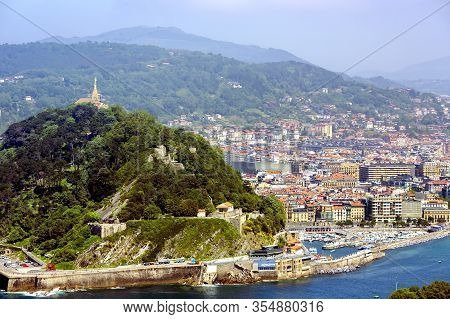 Spain, San Sebastian, Donostia, May, 2017 - View From Mount Igueldo To Mount Urgull Of The Bay Of Bi
