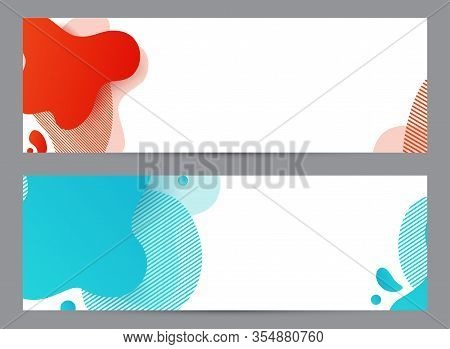 Amoeba Funky Design. Dynamic Style Banner Set With Amoeba Funky Gradient Elements. Creative For Post