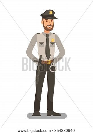 Police Officer In Uniform Flat Vector Illustration. Policeman, Bodyguard Cartoon Character. Security