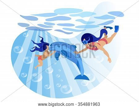 Rehabilitation Communication With Animals Cartoon. Dolphin Therapy And Rehabilitation For Children.
