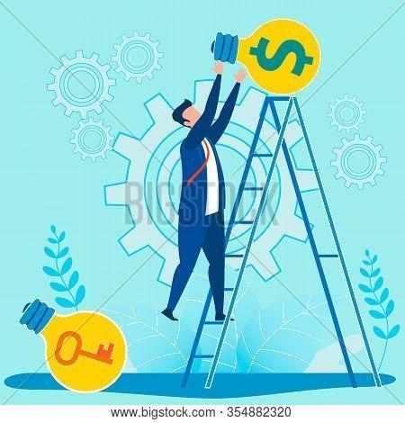 Success Key, Unlock Creativity And Financial Business Idea Topic. Cartoon Businessman Standing On La