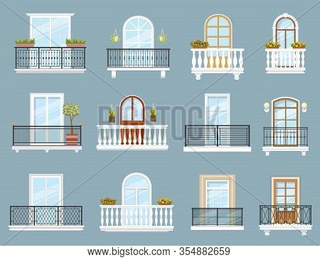 Balconies Of House Or Apartment Building Vector Design Of Architecture Elements. Home Facade Balconi