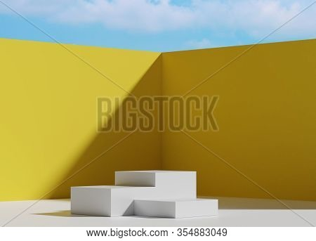 3d Abstract Minimal Geometric Forms. Glossy Luxury Podium For Your Design. Fashion Show Stage,pedest