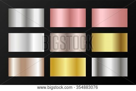 Glossy Golden, Platinum, Bronze, Pink Gold Gradients. Metallic Foil Texture Silver, Steel, Chrome, P