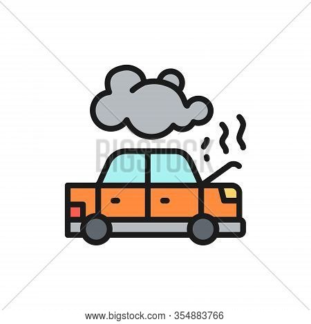 Car Broke Down, Automobile Smoking Under Hood, Accident Flat Color Line Icon.