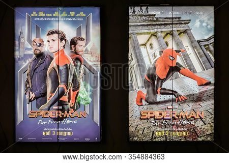 Bangkok, Thailand - June 12, 2019: A Beautiful Standee Of A Movie Called Spiderman Far From Home Dis