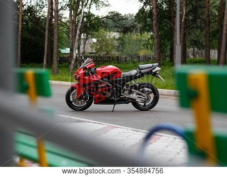 Krasnoyarsk, Russia - June 11, 2019: Red And Black Sportbike Honda Cbr 600 Rr 2005 Pc37.