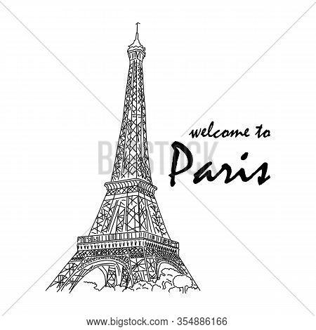 Banner Inscription Welcome To Paris Eiffel Tower. Concerts, Festivals, Fairs, Exhibitions, Master Cl