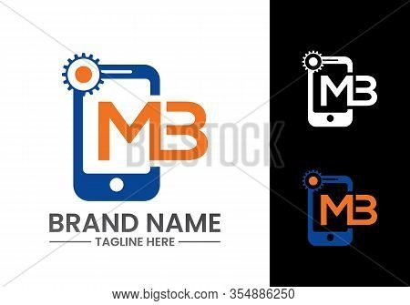 Mobile Phone Icon With Letter M B Logo Design Template.