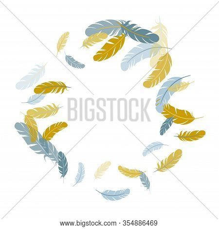 Trendy Silver Gold Feathers Vector Background. Quill Plumelet Silhouettes Illustration. Wildlife Nat