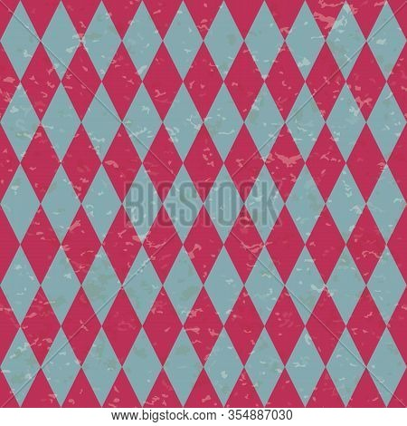 Circus Carnival Retro Vintage Dominoes Seamless Pattern. Red And Blue Diamond Shaped Rhombuses. Text
