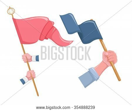 Protesters Holding Posters, Placards, Banners, Flags Vector