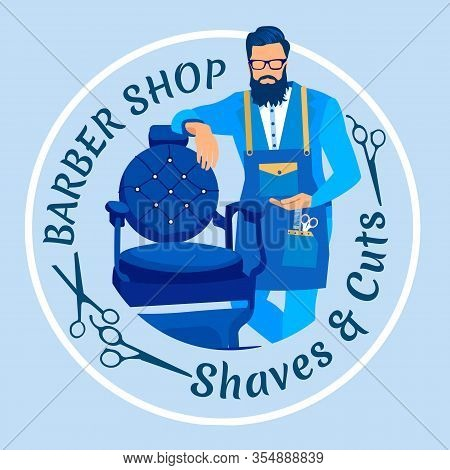 Bearded Master With Haircut Tools Waiting Client In Barbershop Stand Near Chair. Barber Shop, Salon