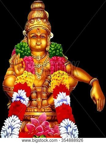Hindu God Sanskrit Holy Spiritual Asia Name Harivarasanam Illustration