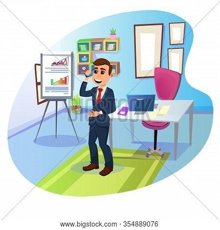 Cartoon Boss, Young Positive Smiling Brunet, Wearing Dark Blue Business Suit And Red Necktie, Talkin