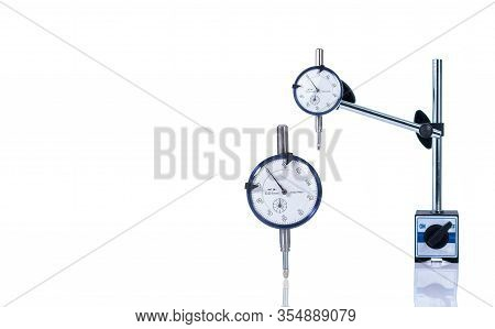 Dial Gauge Isolated On White Background. Standard Dial Gauge. Dial Indicator. Measuring Equipment. M