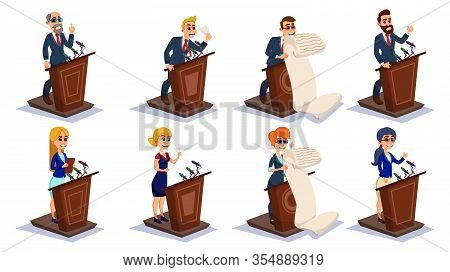 Cartoon People Public Speaker Set Vector Illustration. Man Woman Character On Tribune Talk Microphon