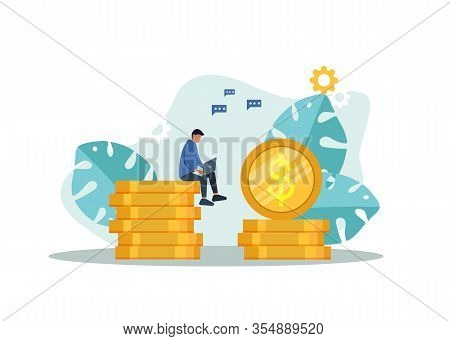 Businessman Working On His Laptop And Earning Money. Businessman Earning Money From Online Business.