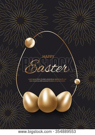 Golden easter egg with holiday greeting - Vector easter illustration. Happy easter greeting card. Gold easter cut flowers with golden glitter easter frames, holiday easter background. Vector easter illustration