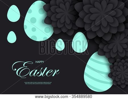 Mint easter egg with holiday greeting - Vector easter illustration. Happy easter greeting card. Mint easter paper cut flowers with mint easter frames, holiday easter background. Vector easter illustration