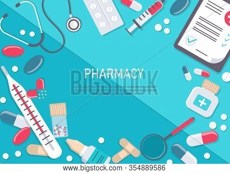 Medicine vector illustration. Pharmacy background, pharmacy desing, pharmacy templates. Medicine, pharmacy, hospital set of drugs with labels. Medication, pharmaceutics concept. Different medical pills and bottles. Big set of medical equipment and pharmac