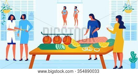 Dietary And Healthy Lifestyle Women Course. Doctor, Measuring Girls Waist, Food Specialist Explainin