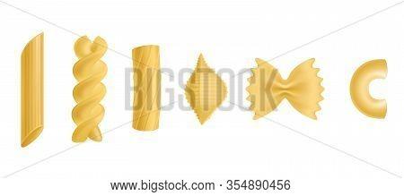 Pasta And Macaroni Set, Dry Penne, Fusilli, Rigatoni, Conchiglie, Farfalle, Chiferri Isolated On Whi