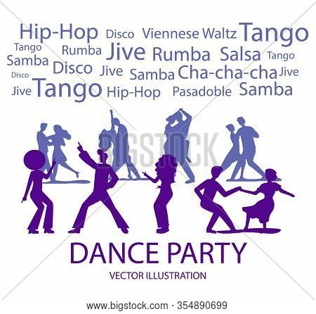 Dance Party Banner With Dancing People Silhouette On White Background. Viennese Waltz, Hip-hop, Rumb