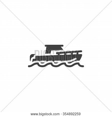 Pleasure Boat Vector Icon. Filled Flat Sign For Mobile Concept And Web Design. Fishing Boat Glyph Ic