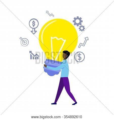 Informative Banner Big Successful Idea Cartoon. Man Casual Clothes Carries Huge Incandescent Lamp. A