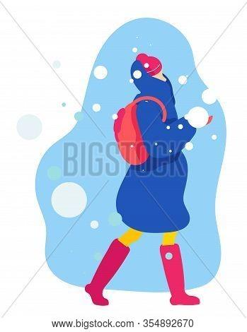 Informational Poster Walk In Snow Cartoon Flat. Girl In Warm Clothes Is Walking Along Snowy Street,