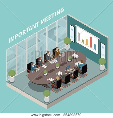 Important Business Results Presentation  Meeting Room Interior Isometric Composition With Oval Board