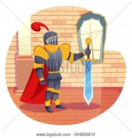 Noble Knight In Shining Armor With Heavy Same Height As Him Sword, Is On Watch In Ancient Castle. Ro