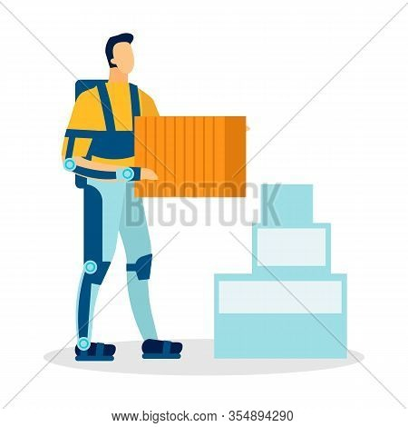 Man Wearing Exoskeleton Flat Vector Illustration. Cartoon Loader, Moving Service Worker, Courier Car