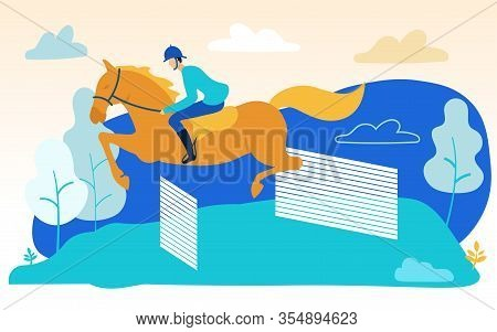 Man On Horse Skips Over Barriers. Horseback Riding. Vector Illustration. People On Farm. Horses At F