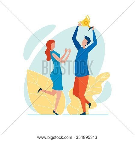Office Worker, Dressed Casually, Holding Golden Champion Cup Aloft, Triumphing, Jumping Happy With T