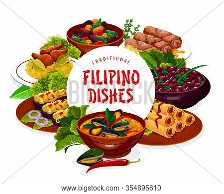 Filipino Dishes Vector Frame. Asian Cuisine Food Lump With Meat, Eggplant Thalong, Bicolar Express,