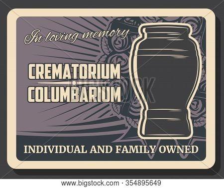 Crematorium And Columbarium Urns, Funeral Vector Poster. Burial Urn, Cremation, Funeral Service, Int