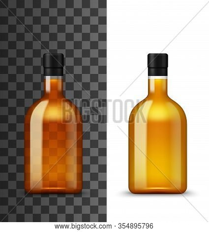 Alcohol Drink Glass Bottle Realistic 3d Vector Mockup. Closed Blank Bottle With Brown Liquid Of Craf