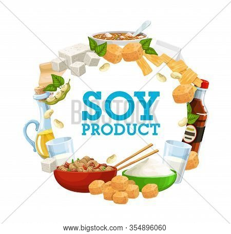 Soybean Food And Soy Products Vector Banner. Vegetarian And Vegan Nutrition, Soy Sauce And Tofu, Mil