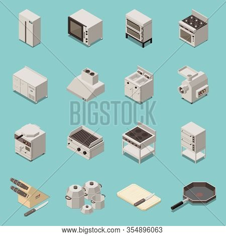 Industrial Kitchen Professional Appliances Equipment Isometric Set With Meat Mincer Convectional Ove