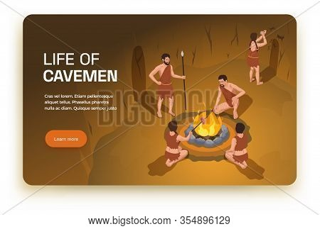 Caveman Prehistoric Primitive People Horizontal Banner With Learn More Button Editable Text And Indo