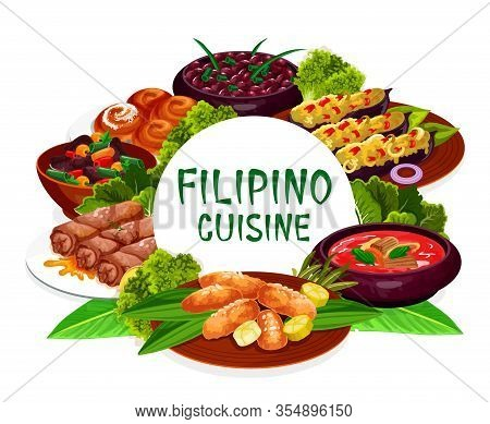 Filipino Cuisine, Asian Food Restaurant Dishes Round Frame Lump With Meat, Eggplant Thalong, Bicolar