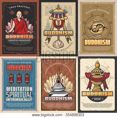 Buddhism Religion Retro Posters. Vector Buddhist Symbolic Stupa, Tibetian Monk In Lotus Posture, Pra