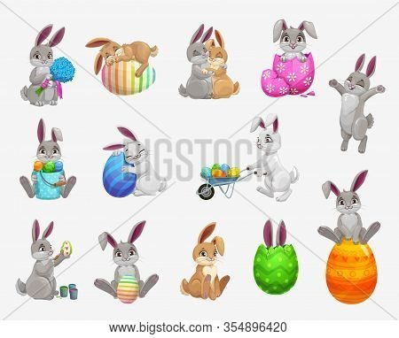Easter Bunny And Rabbit With Egg Vector Icons Set Of Religion Holiday And Egghunting Design. Cute Ca