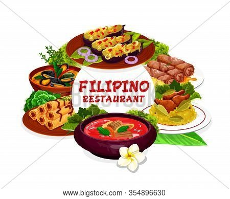 Filipino Cuisine Restaurant Dishes Vector Round Frame. Lump With Meat, Eggplant Thalong, Bicolar Exp