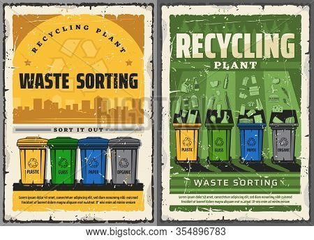 Wastes Sorting And Garbage Recycling Retro Posters. Vector Waste Bins For Litter Segregation. Glass,