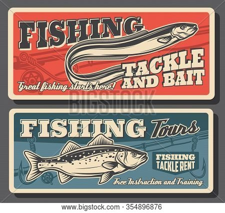 Fishing Sport, Sea Bass And Eel Fish, Tackles And Bait Posters. Fisherman Equipment And Fish Catch A