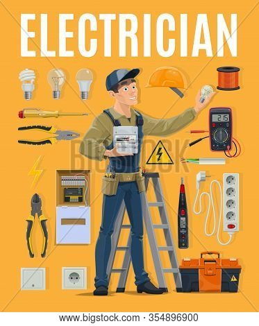 Electrician With Work Tools And Electrical Equipment Toolbox. Electric Power Industry Profession, En