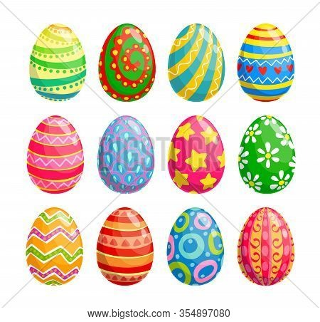 Easter Egg Isolated Icons Of Religion Holiday And Egghunting Vector Design. Spring Season Painted Eg